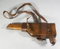 "Waffenfabrik Mauser 1896 ""Broomhandle"" 7.63 Cal Pistol SN# 120632, With Wood Holster That Converts Pistol To Shouldered Rifle And Leather Sling - 12"