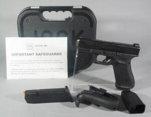Glock 45 9x19 mm Pistol SN# BLKA275, With 2 Total Mags, Extra Grips, Speed Loader And Paperwork, In Hard Case