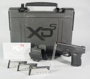 Springfield Armory XD-S 3.3 .45 ACP Pistol SN# S3145017, 4 Total Mags, XDS Gear Holster, Fiber Optic Sight And Paperwork, In Original Hard Case
