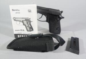 Beretta Bobcat 21A .22 LR Or .25 Auto Pistol SN# BES 30703 U, With 2 Total Mags, Paperwork, And Nylon Holster
