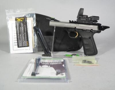 Browning Buck Mark .22 LR Pistol SN# BRUS06207ZN515, With Volquarisen Ejector, Tandem Cross Halo Charging Ring, See Descrip For More, In Soft Case