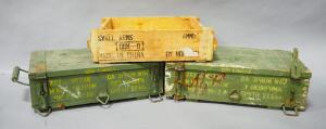 Wood Ammo Boxes With Handles, Qty 2, And Ammo Crate