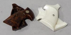 Pair Of Grips For S&W K&L Frame, Brown Acrylic And Faux Pearl