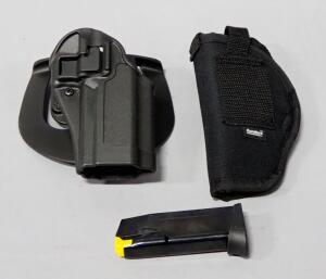 PT111 Pro 9mm Mag, Gunmate Nylon Holster, And Blackhawk Plastic Holster