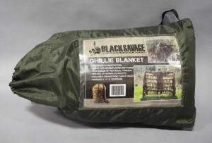 Black Savage Ghillie Blanket, Woodland Camo Pattern, 5 ft x 12 ft, In Drawstring Carry Pouch