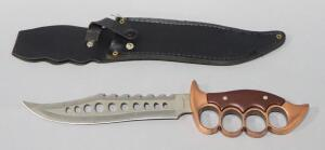 "Maxam Fixed Blade Knife With Single Serrated Edge And Brass Knuckle Style Handle, 8"" Blade, With Leather Sheath And Box"