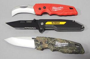 "Milwaukee And DeWalt Folding Pocket Knifes, Total Qty 3, Blade Lengths Range 2.5"" - 3.25"", One With Curved Blade"