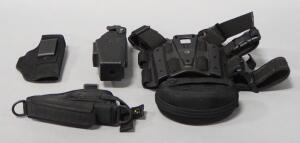 Holster Assortment, Qty 4, Includes Blackhawk Leg Holster Platform, Range Maxx, Galco, And X26, And ESS Sunglasses