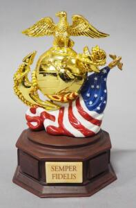"Ardleigh Elliot ""Semper Fi"" US Marine Corps Tribute Collection Music Box No. 15711, Plays ""The Marines Hymn"""