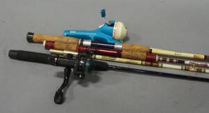 Fishing Rod Assortment, Some With Reels, Includes Shakespeare, Mickey Mouse, South Bend And Berkley, Total Qty 4