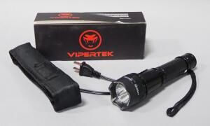 Vipertek Rechargeable Stun Gun/Flashlight, Model VTS-195-1, With Nylon Carry Case And Charger, In Original Box