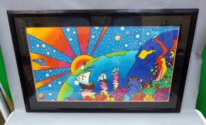 "Peter Max (German-American, 1937 - ), ""Discovery 1492-1992"", Serigraph #143, 1992, Signed Framed And Matted 57.5"" x 37"", With COA"