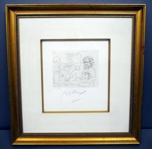 "Peter Max (German-American, 1937 - ), ""Homage To Picasso Volume 3 Etching XII, #018, 1991, Signed Framed And Matted 28"" x 29.5"", With COA"