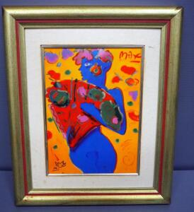 "Peter Max (German-American, 1937 - ), ""Fan Dancer"", Limited Edition Porcelain Plaque, Framed 13.5"" x 16.5"", With COA"