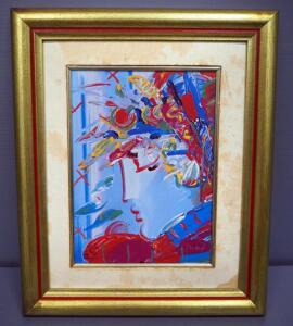"Peter Max (German-American, 1937 - ), ""Blushing Beauty"", Limited Edition Porcelain Plaque, Framed 13.5"" x 16.5"", With COA"