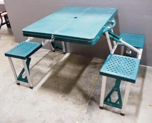Portable Picnic Table With Build-In Seats