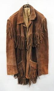 Joo Kay Vintage Suede Leather Coat With Fringes, No Size Label