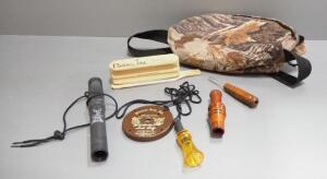 Animal Calls, Various Styles, Qty 5, Includes Primos, H.S. Calls True Talker, Ben-Lee Twin-Hen And More, In Carry Case