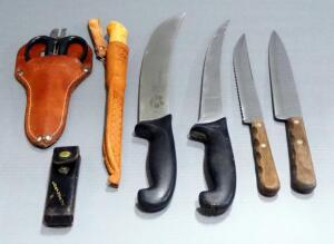 Assorted Knives, Qty 5, Multitool And Shears In Leather Sheath