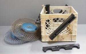 Fishing Supplies Includes Minnow Baskets, Qty 2, And Rod Holders Mounted To Crate