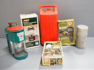 Camping Supplies, Includes 1946 Coleman GI Foxhole Stove, Grass Hopper Propane Stove, Coleman Lanterns, Bernz-O-Matic Propane Lantern, And More