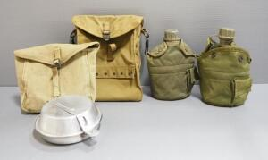 Military Mess Supplies, Includes Mess Kit, Canteens And Bag