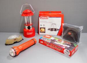 Camping Supplies, Includes Coleman Electric Lantern, Char-Broil Grill Light, Coleman Camp Toaster, S'mores Grill Rack And More