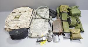 Military Back Pack, Camelbak, Military Belts, Handcuffs, Camp Shovel And More