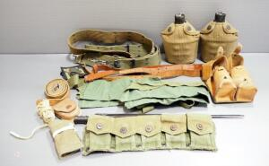 Military Equipment, Includes Bayonet, Canteens, Belts, Pouches, Mag Pouch, And More