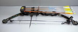 "Martin Lynx Compound Bow, 50-65 Peak Weight, 29"" Draw Length, With Quiver, 6 Arrows, And Wristguard"