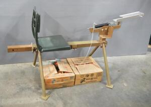 Seated Trap Thrower And Clay Pigeons, Approx Qty 135