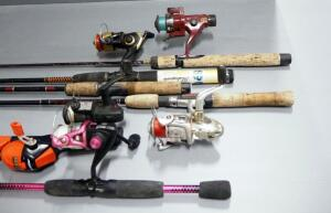 Fishing Rods And Reels, Medium Action, Includes Shakespeare, Cardinal, And More, Total Qty 6