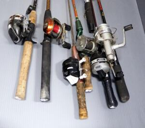 Fishing Rods And Reels, Medium Action, Includes Shakespeare, Cardinal, Zebco And More, Total Qty 7