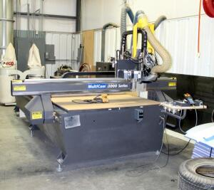 2008 Multicam 3000 Series CNC Router, 6.5' X 10', Includes Eco Dust System, Multicam Starter And Electrical Panels, Serial # 3-204-R-PF07141, 3 Phase Motor Reduced to 220V, Bidder Responisble For Proper Removal And Disconnection, Hard Wired In, Approx 8'