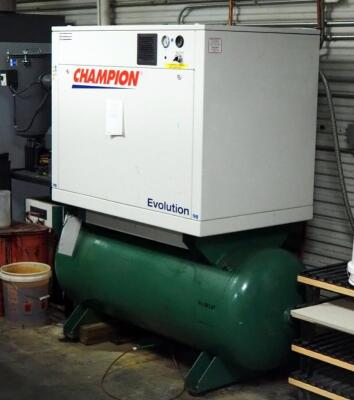 Champion Evolution Air Compressor, Model HER15F-12, 15 HP, 120 Gal Tank, And Air Dryer , Model CRN50A-1, 3 Phase, Hard Wired In, Bidder Responsible For Proper Disconnection And Removal