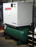 Champion Evolution Air Compressor, Model HER15F-12, 15 HP, 120 Gal Tank, And Air Dryer , Model CRN50A-1, 3 Phase, Hard Wired In, Bidder Responsible For Proper Disconnection And Removal - 2