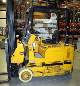 Drexel Battery Powered Swing Mast Forklift, Model SLT30, Hours Showing 27489, Includes Ferro Five Battery Charger, Model FR18HK850A