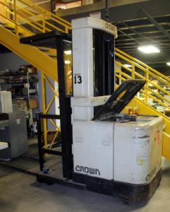 Crown Battery Powered Forklift, Model SP300, Includes Exide 3000 Battery Charger, Needs Repair