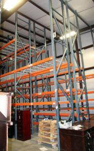 "Heavy Duty Steel Pallet Racking Includes, 18' End Supports, Qty 12, 8' Cross Braces, Qty 64, And Wire Grid Shelving, 42"" In Depth"