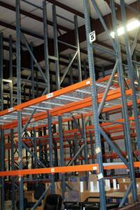 "Heavy Duty Steel Pallet Racking Includes, 18' End Supports, Qty 16, 8' Cross Braces, Qty 60, And Wire Grid Shelving, 42"" In Depth"