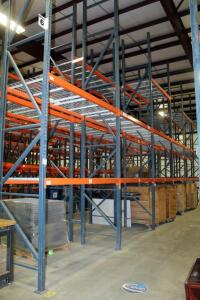 "Heavy Duty Steel Pallet Racking Includes, 18' End Supports, Qty 16, 8' Cross Braces, Qty 70, And Wire Grid Shelving, 42"" In Depth"