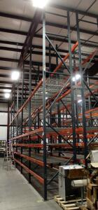 "Heavy Duty Steel Pallet Racking Includes, 18' End Supports, Qty 14, 8' Cross Braces, Qty 116, And Wire Grid Shelving, 42"" In Depth"