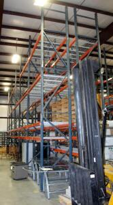 "Heavy Duty Steel Pallet Racking Includes, 18' End Supports, Qty 14, 8' Cross Braces, Qty 104, And Wire Grid Shelving, 42"" In Depth"
