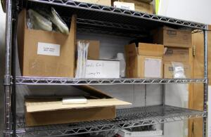 Clear Plastic Bags, Assorted Sizes, Plastic Ring Binders, Aluminum Eyelets, And More, Contents Of Shelf