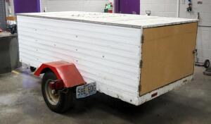 "Custom Built Single Axle Trailer With Cargo Box, Sheet Metal Exterior, 108.25"" x 73.5"" x 34"", 1 7/8"" Ball Hitch, Includes Bungee Chords And Padlock Hasp"