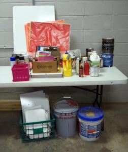 Craft Supplies Including, Spray Adhesive, Paint, Poster Board, White Boards, Colored Pencils And More