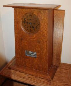 "Stickley Oak Prairie Style Mantle Clock, Dated July 18, 1995, 22"" x 15"" x 7.5"""