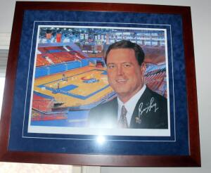 "Framed, Matted Under Glass Autographed Print Of Head Coach Bill Self & KU Basketball Court, ""Beware Of The Phog"", Signed By Bill Self, Numbered 114/1000"
