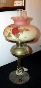 "Antique Brass And Glass Hurricane Lamp With Floral Frosted Glass Shade, 27"" Tall"