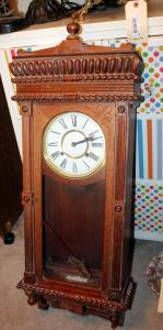 "Vintage Wood Case Wall Clock With Detailed Accents, Key Wound Movement, And Chime, 42.5"" x 14.75"" x 6"", Includes Key"